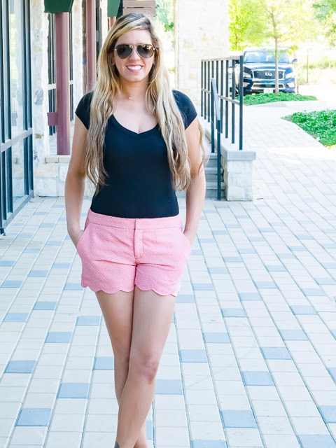 Weekend style featuring scalloped shorts!