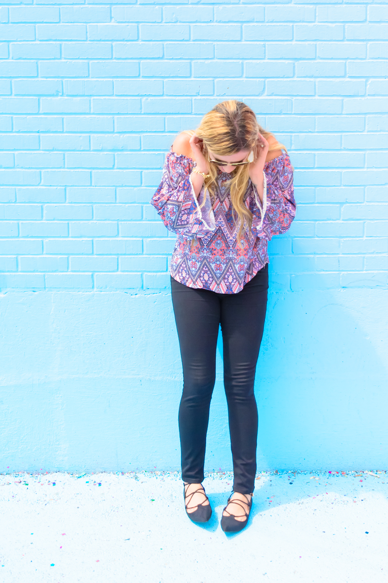 Back to School fashion with an off the shoulder top and skinnies