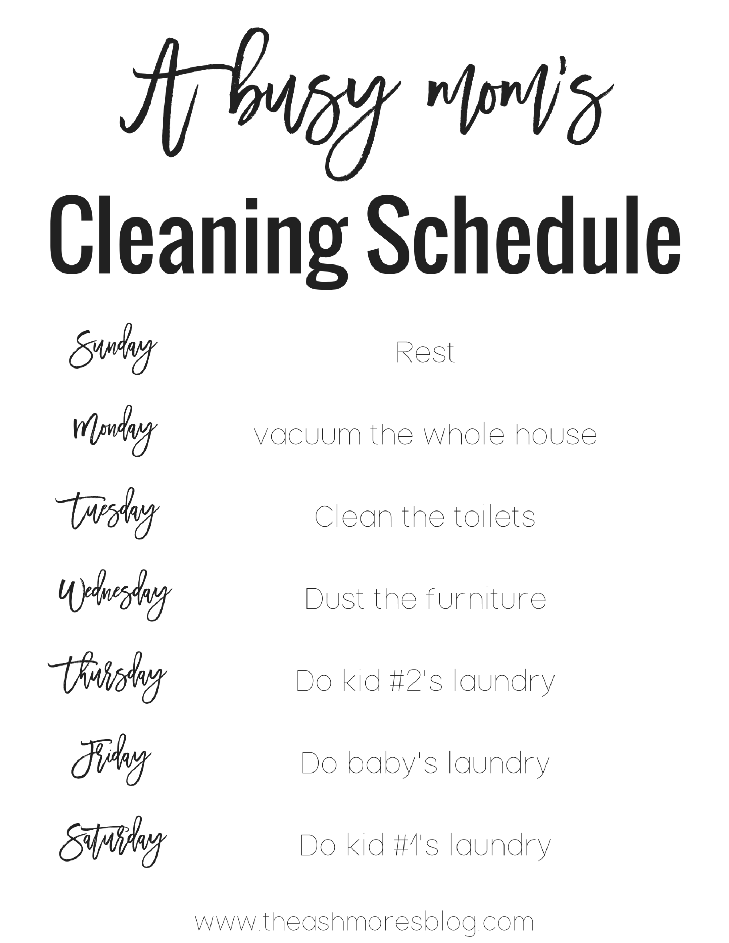A busy mom\'s cleaning schedule! - The Ashmores Blog